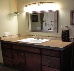 Traditional Bathroom with Concrete Counter Top